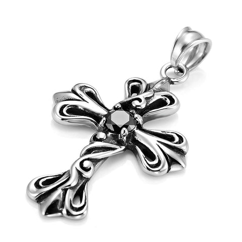 Urban Jewelry Vintage Royalty Celtic Shield Cross Necklace Pendant, Cubic Zirconia Silver Black
