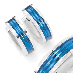 Unisex Huggie Earrings in 316l Stainless Steel Ocean Blue Hoop Design 10mm (with Branded GiftBox)