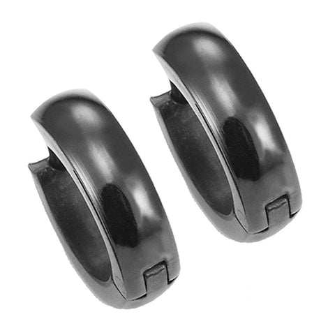 Mens Black Stainless Steel Hinged Hoop Earrings 10mm (with Branded Gift Box)