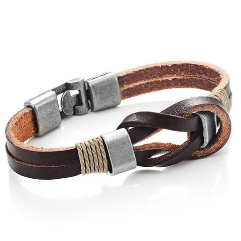 Urban Jewelry Leather Nautical Knot Bracelet for Him and Her 8 inch (Secure New Clasp)