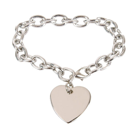 "Charm Bracelet Chain Classic Linked Women Heart 8"" (Silver Color)"