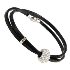 "Stunning Womens Urban Jewelry Leather Cubic Zirconia Bead Bracelet 7"" (Black)"