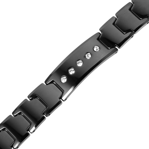 Elegant Black Solid Tungsten Link Bracelet with Magnet and 5 Cubic Zirconia Stone