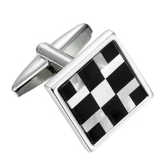 Urban Jewelry Abstract 316L Stainless Steel, Onyx & Real Shell Men's Cufflinks (Black, White, Silver)