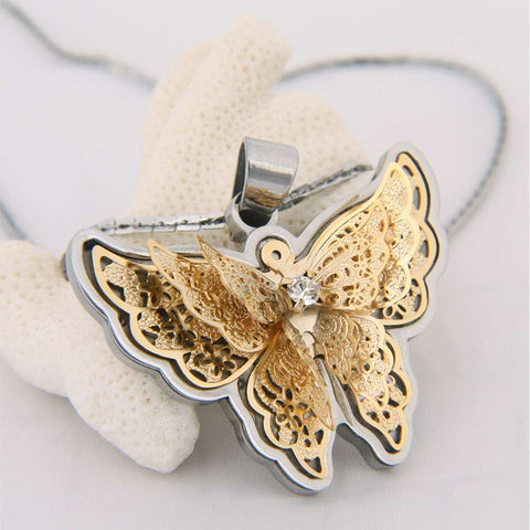 "Amazing Butterfly Pendant Cubic Zirconia Stainless Steel Chain Necklace 20"" Womens Jewelry"