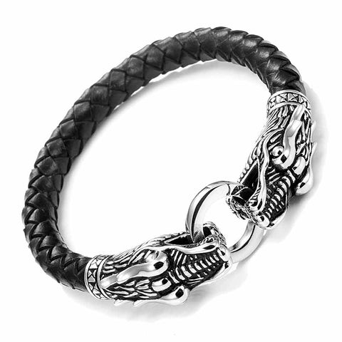 Leather Mens Bracelet 8 1/2 Inches with Locking Stainless Steel Dragon Head Clasp, Black Silver