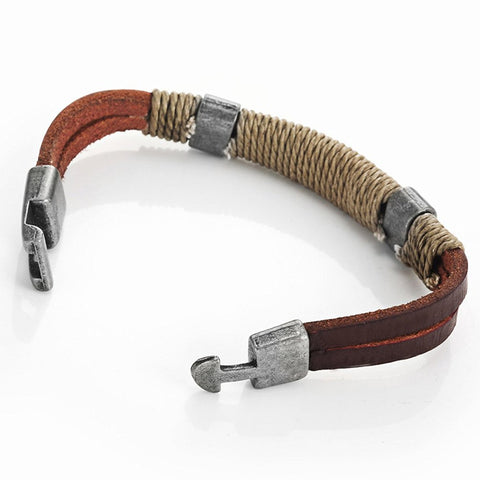 Dark Brown Leather Wound-around Nature Thread Bracelet for Him and Her, Unisex, Leather, 8""