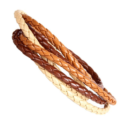 Urban Chic Cosmopolitan Style Blond Cuff Leather Wrap Bracelet for Men and Women 8""