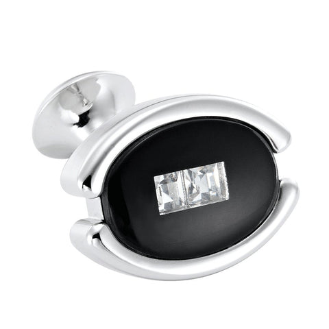 Unique Mens Stainless Steel Cufflinks Oval Cubic Zirconia Eye Cuff Links (Black)