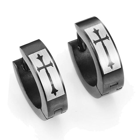 Men's 316L Stainless Steel Black Hoop Huggie Earrings with Gothic Medieval Cross 10mm