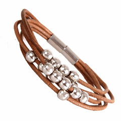 "Stylish Urban Jewelry Leather Bracelet for Women Silver Color Beads Cuff with Magnetic Clasp 7"" (Brown)"