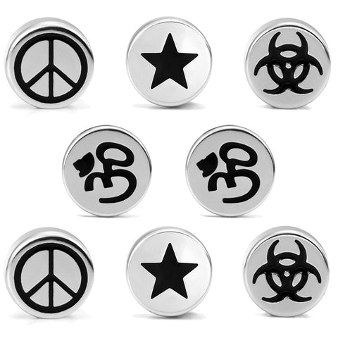 Mens 4 Pairs Stainless Steel Barbell Stud Earrings Set with Om, Radioactive, Peace Sign and Star Designs