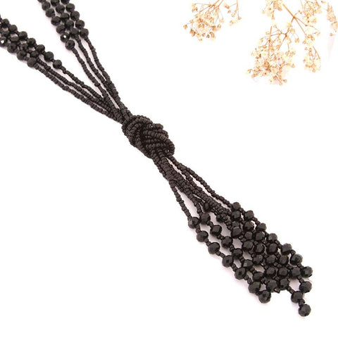 "Vintage Style Charcoal Black Long Multitier Beaded Womens Necklace Jewelry (Long - 31"")"