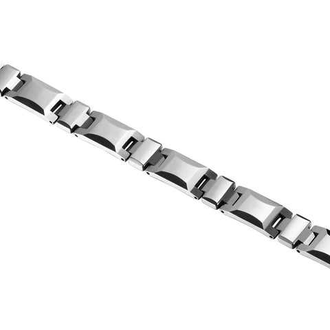 Classy Men's Bracelet – Interlocking Track Links – Box Chain Rectangular Geometric Design – Polished Silver Color – Scratch & Tarnish Resistant Tungsten – Jewelry Gift or Accessory for Men