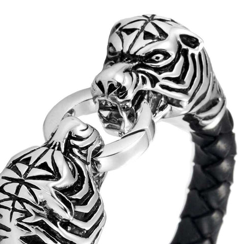 Amazing Leather Mens Bracelet with Locking Stainless Steel Tiger Head Clasp, Black, Silver, 8.5 Inches