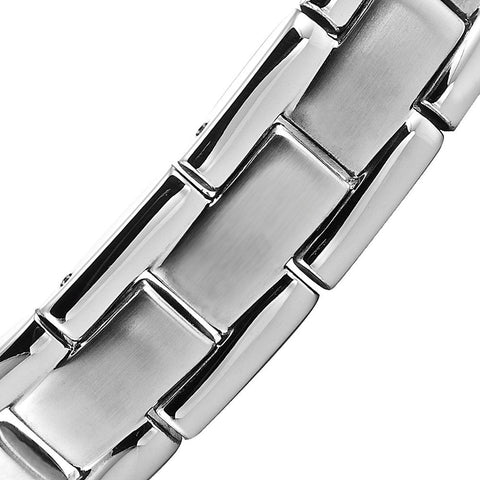 Quality Mens Link Bracelet 316L Stainless Steel Magnetic Therapy, Color Silver