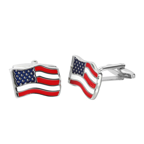 Urban Jewelry Loyal Patriot Stainless Steel USA Flag Men's Cufflinks (Red, Blue, White, Silver)