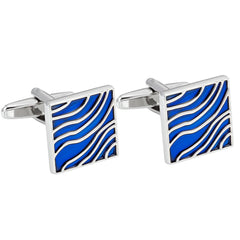Urban Jewelry Cool Cufflinks for Men Blue Waves Enamel Design on Stainless Steel