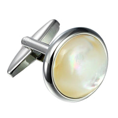 Urban Jewelry Unique 316L Stainless Steel Men's Round Cufflinks with Real Shell (Silver)