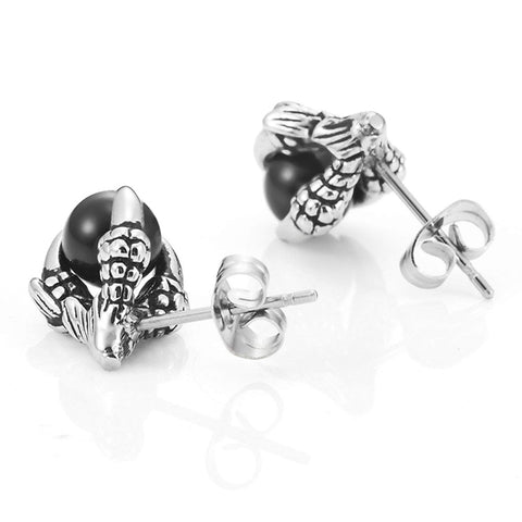 Vintage Dragon Claw Mens Stud Earrings Stainless Steel , Color Silver Black