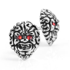 Masculine Men's Stud Earrings Stainless Steel Skull Earrings (Silver, Black, Red)