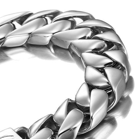 Powerful Stainless Steel Men's Bracelet Silver 8.4 Inch (With Branded Gift Box)
