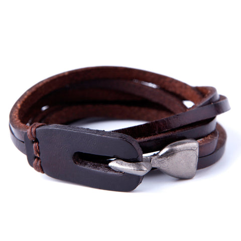 Urban Jewelry Deep Coffee Leather Wrap Cuff Men's Genuine Bracelet with Metal Hook Clasp (Brown)