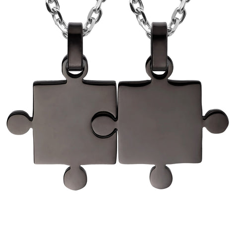 "His & Hers Puzzle Matching Piece Couples Pendant Necklace Set with 18"" & 21"" Chain"