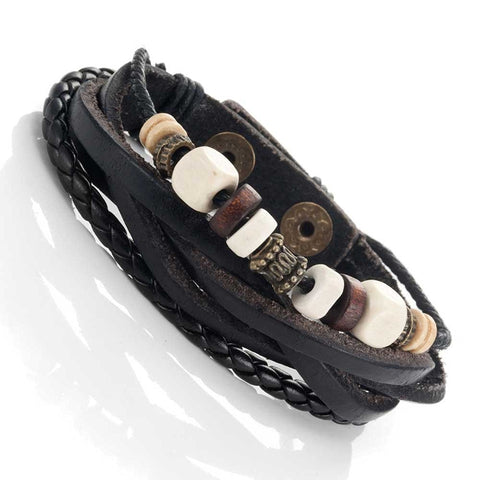 Urban Jewelry Leather Vintage Earth Brown and Blond Beaded Bracelet, 8.5""