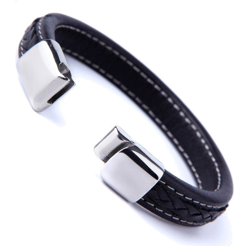 Elegant Black Cuff Genuine Leather Bracelet for Men with Elegant 316L Stainless Steel Clasp