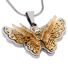 Amazing Butterfly Pendant Cubic Zirconia Stainless Steel Chain Necklace 20
