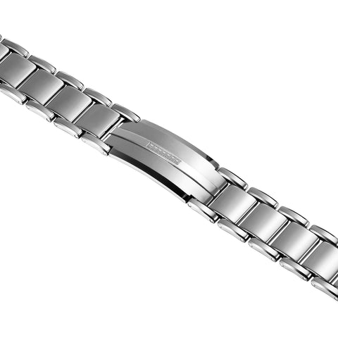 Dapper Men's Bracelet – ID Band with Interlocking Track Links – Sleek Silver Finish – Scratch & Tarnish Resistant Tungsten – Jewelry Gift or Accessory for Men