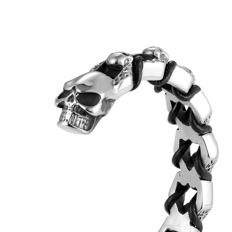 Bold Men's Biker Bracelet – Death's Skull Design in a Polished Silver Finish Band – Rust & Discoloration Resistant Stainless Steel with Black Genuine Leather Detail– Jewelry Gift for Men
