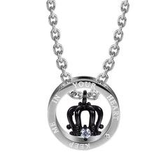 Royal His & Hers Couples Crown Ring Pendant Love Necklace Set, 19 & 21