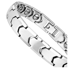 Dapper Men's Bracelet – Interlocking Track Link Design in a Polished Silver Finish – Strong & Durable Solid Tungsten Material – Jewelry Gift or Accessory for Men