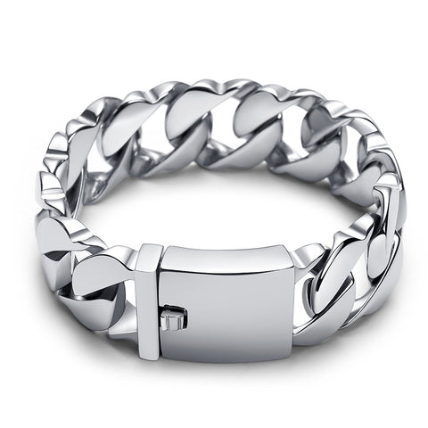 Urban Jewelry Massive 316L Stainless Steel Silver Color Link Chain Bracelet 8.3 Inches
