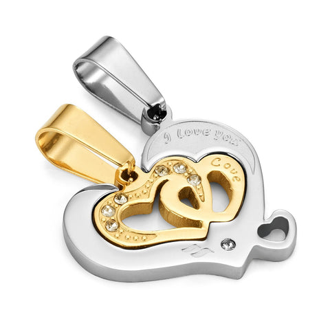 "I Love You 2pcs Matching Couples Heart CZ Pendant Set with 19 & 21"" His & Hers Necklace (Gold, Silver)"