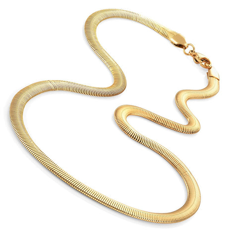 "Gold Toned 316L Stainless Steel Men's Necklace Snake Chain 20"" - Necklaces for Men - Mens Jewelry (6MM)"