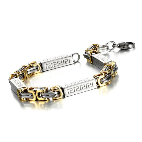 Impressive Men's Stainless Steel Bracelet Byzantine Chain, Gold Silver, 9 Inch (With Branded Gift Box)