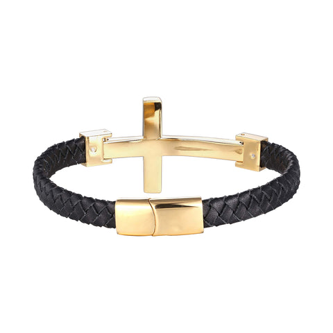 Urban Jewelry Trendy Men's Cross Bracelet – Lord's Cross in a Luminous Silver or Gold Finish – Rust & Discoloration Resistant Stainless Steel Charm – Black Genuine Leather Rope Cord