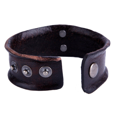 Urban Jewelry Vintage Style Men's Metal Fleur-de-lis Cuff Genuine Leather Bracelet (Brown, Adjustable)