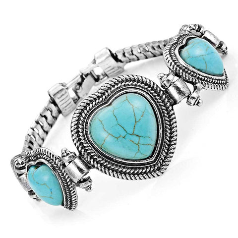 Unique synthetic-turquoise Hearts Vintage Jewelry Cuff Bracelet Alloy (Silver Color)