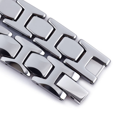 Urban Jewelry Stunning Solid Tungsten Link Bracelet for Men Polished Pyramid Style (Silver, 11mm)