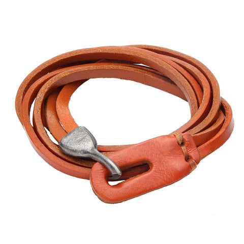 Urban Jewelry Genuine Leather Wrap Cuff Men's Bracelet with Metal Hook Clasp (Camel Brown)