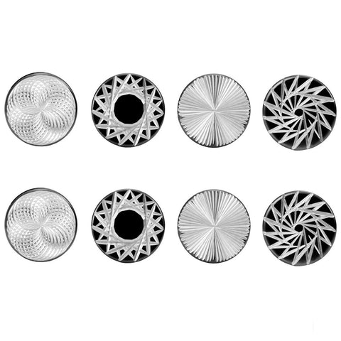 Mens 4 Pairs Stainless Steel Barbell Stud Earrings Set with Star, Spoke, Sunburst and Spirograph Designs