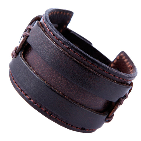 Urban Jewelry Wide Deep Coffee Brown Genuine Leather Cuff Bracelet for Men