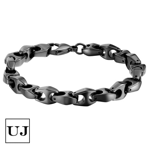 Urban Jewelry Men's Black Tungsten Bracelet – Chain Link Design in a Polished Black Finish – Made of Solid Tungsten Material for Him