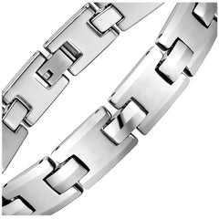 Stylish Men's Bracelet – Classic Track Link Design in a High Polish Silver Color – Made of Strong & Durable Solid Tungsten Material – Jewelry Gift or Accessory for Men
