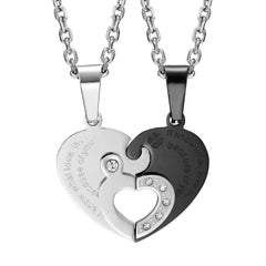 "Urban Jewelry 2pcs His & Hers Couples Gift Heart Crystal Pendant Love Necklace Set for Lover Valentine 19"" & 21"" Chains"