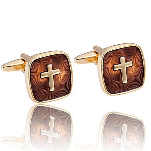 Urban Jewelry Amazing Mens Stainless Steel Cufflinks with Golden Holy Cross